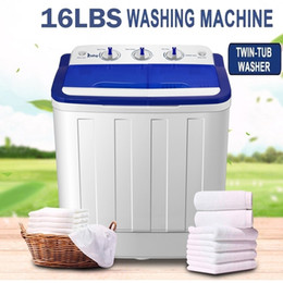 16lbs Semi-Automatic Portable Mini Washing Machine Compact Twin Tub Washer Spin Dry White for Apartment Dorms Home US Shipping on Sale