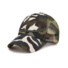 mesh fiber Canada - Summer Kids Mesh Hat Boys Girls Camouflage Baseball Hats Casual Hip Hop Hat Children Fashion Cotton Flat Hats for 3-12 Y D08C