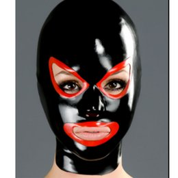 full face hood mask NZ - Latex Hood mask trim red eyes and mouth face Mask Rubber Mask