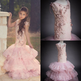 LittLe mermaid baLLs online shopping - Chic Mermaid Flower Girl Dresses D Floral Appliqued Jewel Neck Pearl Girls Pageant Dress Little Kids Wedding Gowns Beautiful Party Wear