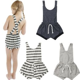 Chinese  0-6Years Toddler Stripe Romper Baby Girls Sleeveless Striped Backless Suspender Summer Infant Romper Overall manufacturers