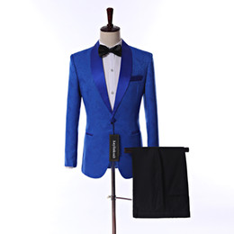 Customize Royal Blu Paisley Groom Tuxedos Shawl Collar Men Prom Party Dress Business Suits (Jacket+Trousers+BowTie)