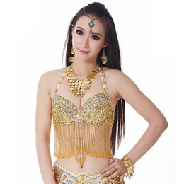 sequin fringe dance NZ - Belly Dance Fringe Halter Top Bra Sequin Beaded Women Girls Costume Underware Festival Dancing Outfit Belly Dancing Bra 9 Colors
