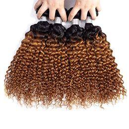 Curly Human Hair For Weaves Australia - Deep Wave Indian Virgin Human Hair Dark Blonde Ombre Weaves 3 4 Bundles 1B 30 Deep Curly Ombre Hair for Black Women