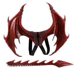 Wings Children Set Australia - Cospty Disfraz De Dinosaurio Purim Halloween Gift Carnival Party Kids Cosplay Decoration Set Wing and Tail Child Dragon Costume GB428