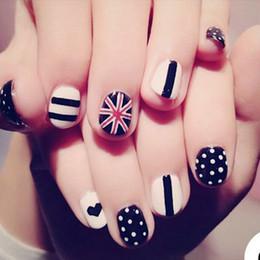 $enCountryForm.capitalKeyWord NZ - 24pcs Short Acrylic Pre Design Nail Tips Black White Striped Dots Sweet Heart 3D Fake Nails Kids False Nails With Glue Sticker