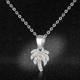 $enCountryForm.capitalKeyWord Australia - JEWELRY coconut tree clavicular chain Pure 925 silver creative necklace neck chain pendant for women