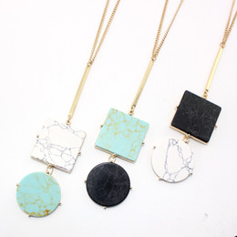 $enCountryForm.capitalKeyWord Australia - Turquoise Kallaite Howlite Natural Stone Pendant Round Square Charm Gold Long Chain Necklaces Geometric Accessories Jewelry