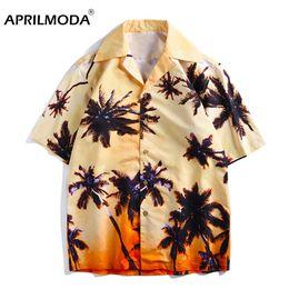 Plus Size Gold Shirt Australia - Mens Hawaii Shirt For Summer Beach Leisure Fashion Floral Print Plus Size Hawaiian Shirts New Casual Camisas Short Sleeve Shirt