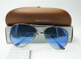 $enCountryForm.capitalKeyWord Australia - ToP Quality Pilot Sunglasses Brand Mens Womens Eyewear Metal Mirror 58 62M Classic Glass Lenses Blue Tea Gray Gradient Box Case