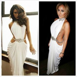 prom dresses short cut 2019 - Sexy High Neck White Prom Dresses Sheath Floor Length Cut Out Special Occasion Party Gowns With Beaded Long Women Evenin