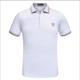 United States Polo Australia - Europe and the United States 2019 foreign trade new fashion short-sleeved high-end men's cotton lapel casual breathable Polo shirt T-shirt M