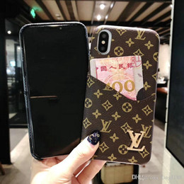 Wholesale Printed letter G V brand design with card slot phone cover for iphone Xs max Xr X plus plus s plus with metal logo