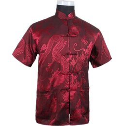 Discount men s red satin shirt - Burgundy Chinese Men Summer Leisure Shirt High Quality Silk Rayon Kung Fu Tai Chi Shirts Plus Size M L XL XXL XXXL M0613