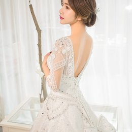 Real Sexy Pictures NZ - 2019 New Arrival Crystal Wedding Dresses O-neck Half Tulle Sleeves Sexy V-back Dress with Bow Cathedral Long Train Real Pictures