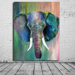 elephant canvas oil paintings abstract Australia - vA. Handpainted Abstract Animal Art Oil Painting Elephant On Canvas Modern Wall Art Home Decor High Quality a53