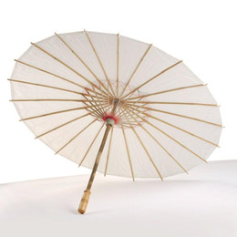 $enCountryForm.capitalKeyWord Australia - Wedding Bride Parasols White Paper Umbrella Wooden Handle Japanese Chinese Craft Umbrella 40cm 60cm Diameter Wedding Umbrellas LX6333