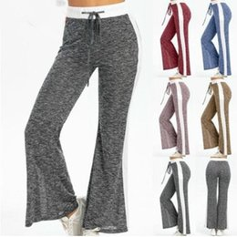 wide leg yoga pants UK - Women Wide Legged Pants Woman Fashion Straight Pants Girl Drawstring Wide Leg Yoga Pants Lady Outdoor Elastic Casual Trousers WY512Q