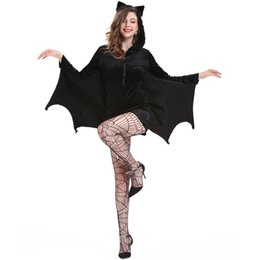 Plus size sexy night clothes online shopping - Halloween Bat Costume Cosplay Sexy Vampire Women Batman Clothes Night Tidy Surprise Mom Girl Suit Increase Size Give Sexy Stockings