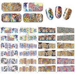 zebra tools 2019 - 12pcs set Nail Art Stickers Water Transfer Nails Decals Animal Lion Zebra Tiger Pattern Manicure DIY Tools BN085-096 che