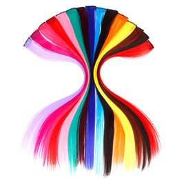Synthetic Hair Clip Bangs Australia - Single Clip In One Piece Hair Extensions Long Straight Heat Resistant Synthetic Pink Green Hair Pieces