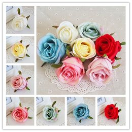 pink decorative paintings Australia - 7CM 50pcs Artificial Silk Oil Painting Vintage Rose Flower Heads DIY Retro Decorative Flower Party Decoration Wedding Wall Flower Bouquet
