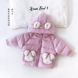wings wear UK - New high quality 1-3years old baby girl's Elegant warm winter snow wear infant cute hoodies with back Angel wings 20200419-2