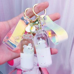Wholesale New Floating Cute Mouse Keychain liquid bottle keychain quicksand drift bottle milk keyring for women bag pendant Jewelry