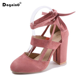 Red gladiatoR pumps online shopping - DAGNINO Women Pumps Fashion Gladiator Heels Woman Quality Lace Up High Heels Hollow Sexy Heels Black Pink Big size