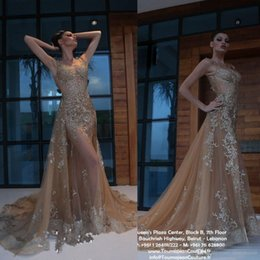 Pink long crystal Prom dress online shopping - Elegant Arabic Evening Dresses Sequined Lace Appliqued Champagne Prom Gowns Sweep Train Detachable Mermaid Party Dress
