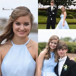 Chinese  2019 Blue Halter A-line Prom Dress With Pearls Sleeveless Custom Made Hot Sales Formal Party Gowns for Evening manufacturers