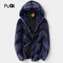 Mink Long Jacket Australia - PUDI MT8107 Men fashion real mink fur jackets with hooded brand new fall winter warm casual outwear