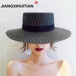 $enCountryForm.capitalKeyWord NZ - 2017 summer Fashion Hepburn Wind Black White Striped Bowknot Summer Sun Hat Beautiful Women Straw Beach Hat Large Brimmed Hat