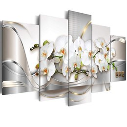 $enCountryForm.capitalKeyWord Australia - Canvas Wall Art Butterfly Orchid Flowers Painting White Floral Prints Picture Home Living Room Decor Framed Art 5 Pieces
