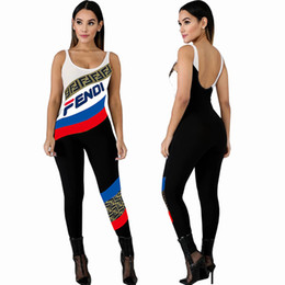 women clothing jumpsuits UK - Women designer brand Jumpsuits & Rompers sexy & club scoop neck sleeveless backless panelle leggings pants ankle-length summer clothes 507