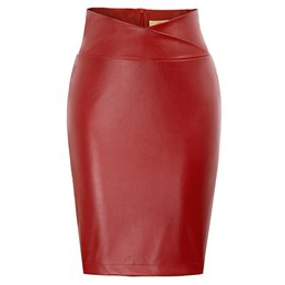 e148972464 Leather Faux Skirt UK - Sexy Pu Leather Skirt Women High Waist Bodycon  Pencil Faux Leather