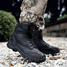 Large cowboy boots online shopping - Outdoor Large Size Men s Hot Military Boots Wear Climbing Tactical Foreign Trade Desert Boots Special Training Combat Boots Size