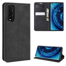business card holder magnetic Australia - For Oppo Find X2 Retro-skin Business Magnetic Suction Leather Case with Holder & Card Slots & Wallet