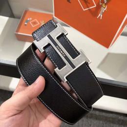 Designer Leather Trousers Australia - Hot sale Designer Belts Men High Quality Leather Mens Belt Luxury genuine leather Smooth buckle Belts For men's trousers belt 125cm