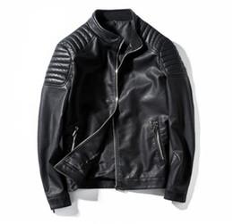 $enCountryForm.capitalKeyWord Australia - Luxury PU Leather Jackets Mens Designer Coats Autumn Solid Color Jackets Slim Casual Outerwear High Quality Mens Apparel