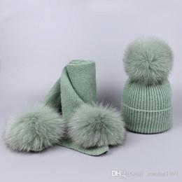 Cashmere Beanies Australia - Winter Real Fur Pompom Hat For Women Cashmere Wool Cotton Hat Big Real Fox Fur Pom Pom Beanies Scarf Cap Bobble Hat Skullies