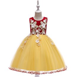 winter wedding dresses lace neck UK - Designer Baby Girls Dresses 2019 New Summer Ball Gown Tutu Dress Flower Girl Dresses Birthday Wedding Easter Princess Dress for 3-10 years