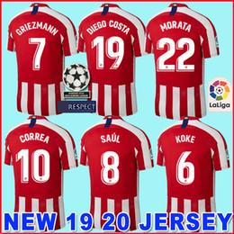a4b44fc953a TOP Atletico Madrid soccer jersey 2018 2019 2020 GRIEZMANN KOKE GABI SAUL  DIEGO COSTA GODIN 18 19 20 Adult men football shirt uniforms