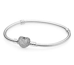 pave clasps Australia - Original 925 Sterling Silver Bracelet Moments Pave Heart Clasp With Crystal Bracelet Bangle Fit Pandora Bead Charm Diy Fashion Jewelry