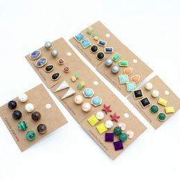 $enCountryForm.capitalKeyWord NZ - Gold Plated Naturl Stone Malachite Blue-vein Stone Turquoise Stud Earrings Set Free Shipping