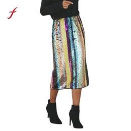 Wholesale sequined skirts for sale - Group buy High End Long Skirts For Women Sexy Striped Patchwork Sequined Split Hem Party High Waist Skirt Decoration Women S Skirt
