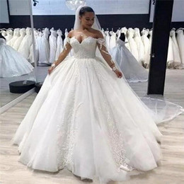 $enCountryForm.capitalKeyWord Australia - Plus Size Vintage Long Sleeves Lace A Line Wedding Dresses 2020 with Appliques Off Shoulder Sweep Train Tulle Sweetheart Bride