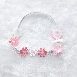 Wholesale Hot Sale Baby Girl Elastic Hairband Children Hair Wear For Kids Head Band Flower stitching Headband Baby Hair Accessories FK