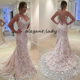full lace pink dresses NZ - Full Lace Mermaid Wedding Dresses 219 Sheer Neck Illusion Back nude pink lining Court Train Garden Wedding Birdal Gowns Dresses