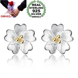 cherry blossom gifts Canada - OMHXZJ Wholesale Sweet lovely Fashion Wild Woman Girl Wedding Gift Golden Cherry Blossom 925 Sterling Silver Stud Earrings YS386
